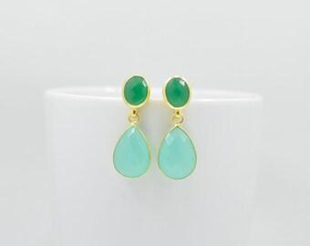 Green Onyx Earrings, Aqua Chalcedony Earrings, Green Onyx Gold Earrings, Silver Aqua Chalcedony Earrings, Aqua Chalcedony Gold Earrings
