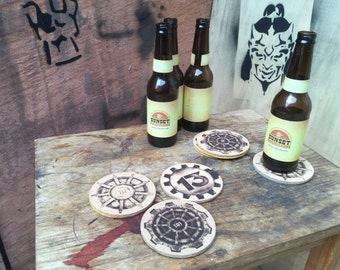 Fallout Vault Themed Coasters. 6 Cork Coasters with Felt Backing. Unofficial Fan Art.