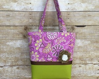 Purple and Chartreuse Green Tote