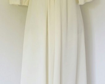 "39"" Bust Vintage 60's Cream Empire Waist Maxi Dress"