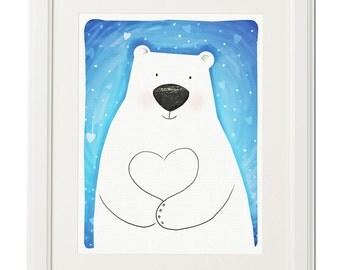 White bear with big heart -Baby-Drawing-Print-Digital artwork-Wall decor-Download print-Printable file-Animal illustration-Original art