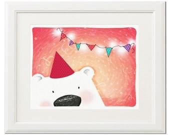 Funny party bear -Digital download children illustration-Animal nursery wall art print-Birthday party-Printable poster-Digital artwork