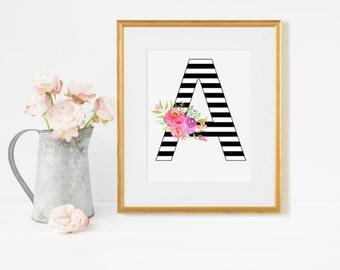 Monogram Letter A, Floral Monogram Letter, Black and White Stripes Monogram, Monogram Letters For Wall, Nursery Monogram, Kids Room Decor