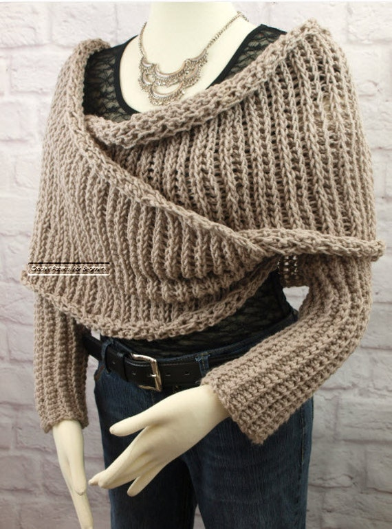 Bolero Scarf Shawl Neckwarmer Crochet Pattern : Sweater Scarf Crochet Pattern Easy Crochet by ...