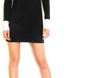 Elegant Long sleeved Women's Dress/Color Block Short Dress/Little Black Dress/Designer's Women's Tunic/Long Sleeve Black Women's Dress