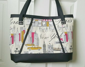 Tan Pink Black Faux Leather Handbag, Tote Bag, Travel Bag, Diaper Bag, Laptop Bag, Large Handbag, Work Bag, New York Paris Print, Gift Idea