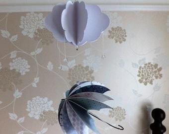 Weather mobile, Umbrella mobile, Rain mobile, Blue mobile, Umbrella decor, Weather decor, Rain decor