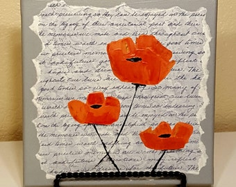 Orange Poppies on Gray Script
