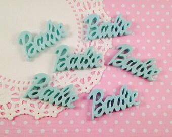 3pc Mint Green Barbie 42mm Kawaii Resin Flatback Cabochon Scrapbook Decoden Craft DIY
