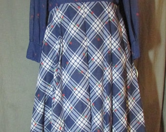 1970 Grace Taylor Butterfly Collar Blue All in One Long Sleeve Plaid Skirt | NOS | NWT | New Old Stock | Size 12-14