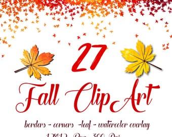 Watercolor digital border Fall watercolor clipart  Autumn watercolor  Digital Clip Art Yellow Orange Autumn Digital Leaf borders corners