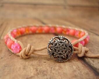 Bright Pink & Orange Leather Wrap Bracelet