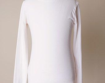 Bridget Bamboo Clothing, Bamboo T-shirt, White Girl Shirt, Wrist Sleeve, Girl Shirt, Girl White Top, Long Sleeve