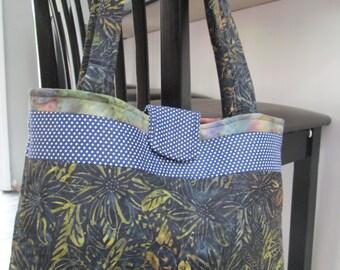 Blue and Green  and polka dot Batik Bag