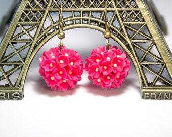FLOWER EARRINGS - polymer clay flower - polymer clay earrings - floral jewelry - red - summer earrings-dangle flower earrings