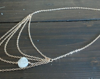 Tiered Rose Gold Necklace w/ Asymmetric Druzy