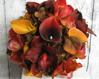 Autumn Wedding bouquet, Fall bridal bouquet, Real touch orchid calla Fall bouquet, Red, orange, and brown wedding, Silk bouquet