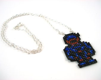 Final Fantasy 6 Shadow Necklace - Pixel Necklace Pixel Jewelry Video Game Jewelry Nerdy Gift Geeky Gift Seed Bead Necklace FFVI Jewelry