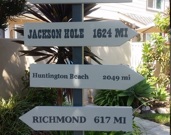 One-of-a-kind signpost featuring your hometown and favorite places in the world.