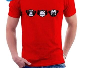 3 monkeys of wisdom - T-shirt Tshirt man 008 • three little monkeys