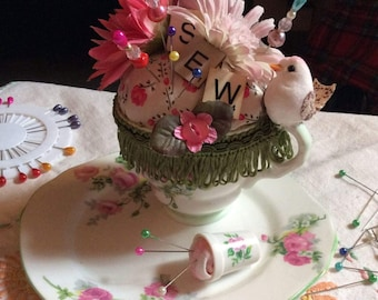 Vintage china teacup pin cushion and pin tray with needle keeper lamb ideal Birthday/Christmas gift