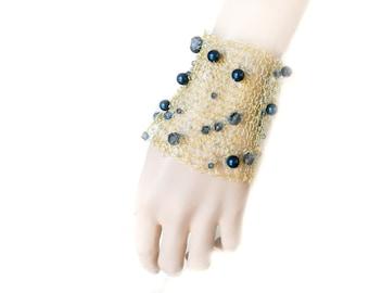 Wide Cuff, Gold Tone Bracelet, Knitted Wire Bracelet, Wire Crochet Jewelry, Wide Bracelet, Swarovski Pearls,  Navy Blue, by Durango Rose
