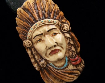 Native American Indian Face Cabochon handmade OOAK polymer clay face cab Cameo