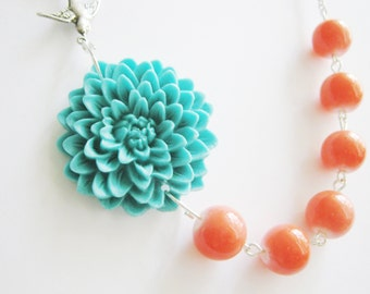 Turquoise Jewelry,Turquoise Necklace,Coral Necklace,Coral Jewelry,Bridesmaid Jewelry Set,Flower Necklace,Wedding Jewelry,Bridesmaid Gift