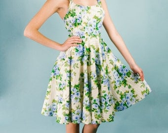 Scoop Neck Vintage Pin up Party Dress Fit n Flare Knee Sexy Blue Green Floral Print Creme Yellow Stripe Summer Wedding Rockabilly Size 2 4
