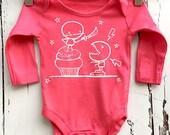 Newborn Coral Pink Babygro vest Cupcake Monster Fight romper by Love Rocky