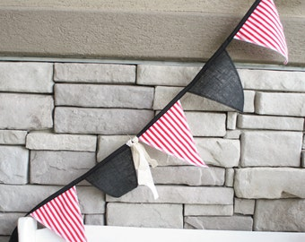 Deluxe Black Burlap and Red Stripe Pirate Bunting
