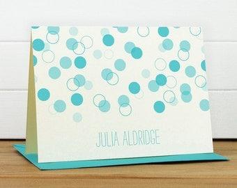 Personalized Stationery Set / Personalized Stationary Set - CONFETTI Custom Personalized Note Card Set - Polka Dot Cute