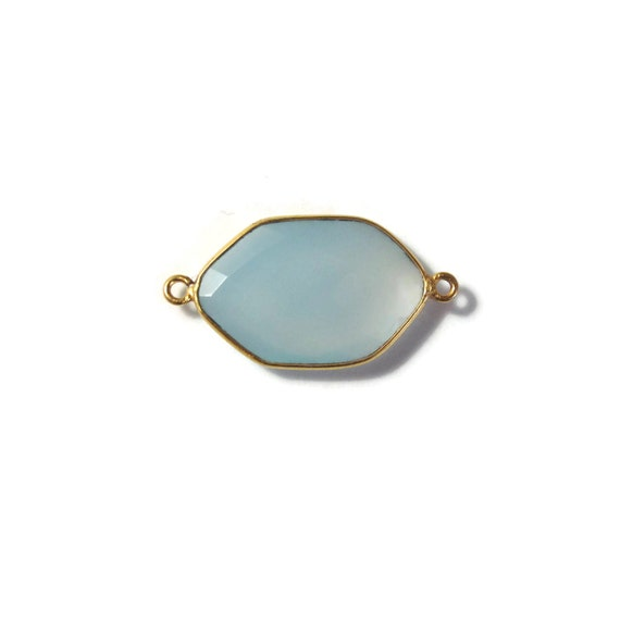 One Blue Gemstone Pendant, Pale Blue Chalcedony Gemstone Charm, Gold Plated Bezel, 29mm x 15mm, Jewelry Supplies (C-Ch1d)