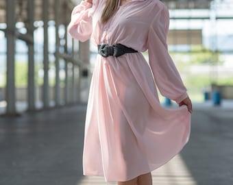Vintage Pale Pink Chiffon Dress (Size Large)