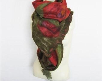 Red Green Felted Scarf, Felt Shawl, Nuno Scarf, Floral Scarf, Floral Silk Scarf, Wool wrap, Wool Silk Scarf, Extra Long Scarf, Winter Scarf