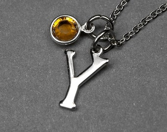 Initial necklace, Birthstone initial necklace, initial birthstone, birthstone jewelry, personalized necklace, bridesmaid jewelry, monogram