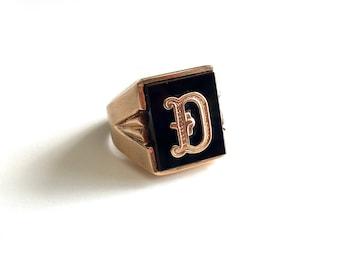 "Vintage Antique Art Deco Retro Chunky Signet Statement Onyx 10K Gold Ring - Letter - Initial ""D"""