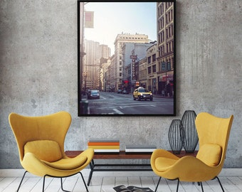 San Francisco Photography, Yellow Taxi Photo, SF Art, Modern Loft Decor Print, Large Wall Art, SF City Streets Picture, Taxi Cab Print