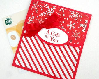 Holiday Gift Card Holder - Christmas Gift Card Holders - A Gift For You - Red and White Snowflake Gift Card Holder - Holiday Tip Envelopes