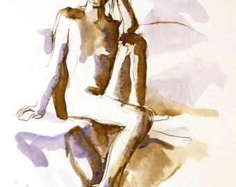 Nude Female Figure Seated with One Knee - Watercolor Painting