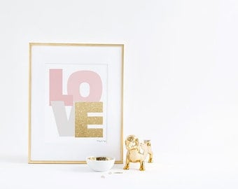 Pink Gold Love Art Print, Love Art Print Anniversary Wedding Gift Home Decor Wall Artwork Poster Printable Digital Download Quote Typography