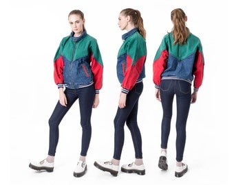 BOMBER JACKET denim colorblock coat Jean 90s red green women vintage Fall / better Stay together / medium
