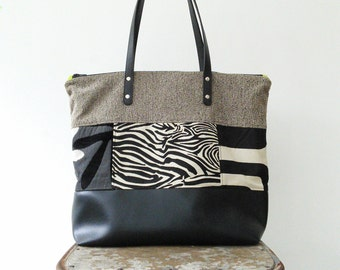 Overnight Bag, Carry-on Bag, Satchell - made from upcycled upholstery fabric and black pleather, Maine made