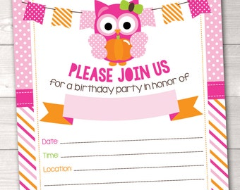 Instant Download Kids Birthday Party Invitation with Owl Pumpkin Polka Dots and Stripes Pink & Orange Printable PDF