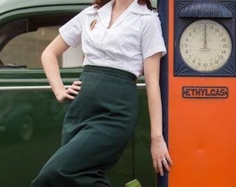 White cotton 1940s style short sleeve cotton blouse S to XL Ready to Ship