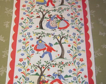 Vintage Towel Happy Kids in the Orchard