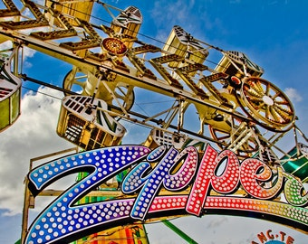 The Zipper Sign Carnival Ride Fine Art Print- Carnival Art, County Fair, Nursery Decor, Home Decor, Children, Baby, Kids