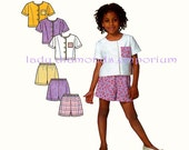 641 Simplicity 9009 Girls Short Sleeve Tops & Pull-on Shorts Childs sizes 2 3 4 5 6 6X Summer Play Clothes Its So Easy Sewing Pattern Uncut
