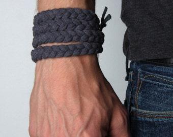 Gray Bracelet, Cuff Bracelet, Woven Bracelet, Braided Bracelet, Yoga Bracelet, Hippie Bracelet, Unique Bracelet, Chunky Bracelet
