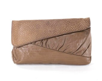 Leather Bag Abstract Textured Taupe Leather Avant Garde Vintage 80s Clutch